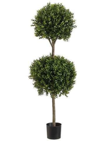 4-Double-Ball-shaped-Boxwood-Topiary-in-Plastic-Pot-Two-Tone-Green