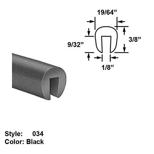 Neoprene Rubber U-Channel Push-On Trim, Style 034 - Ht. 3/8'' x Wd. 19/64'' - Black - 25 ft long by Gordon Glass Co.