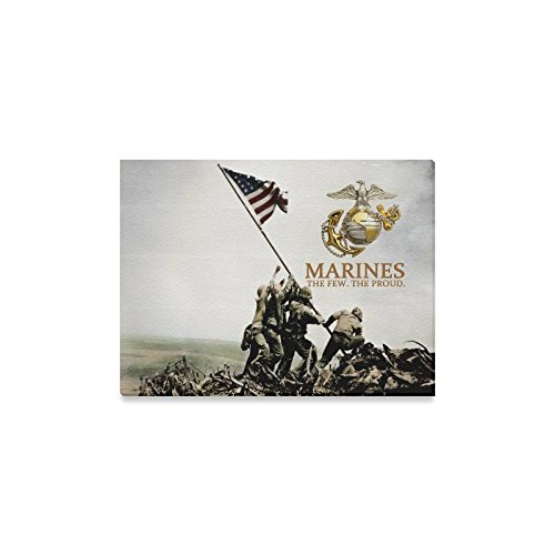 (USMC United States Marine Corps Semper Fi Oil Painting Canvas Print Wall Art for Home Decoration(16x12inch))