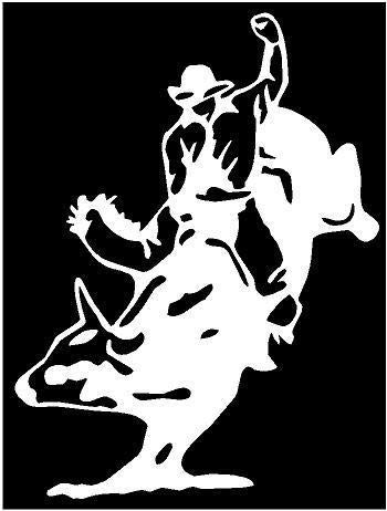 (White Vinyl Decal - Bullrider Bull Rodeo Cowboy Fun Sticker Country Truck, Die Cut Decal Bumper Sticker for Windows, Cars, Trucks, Laptops, Etc.)
