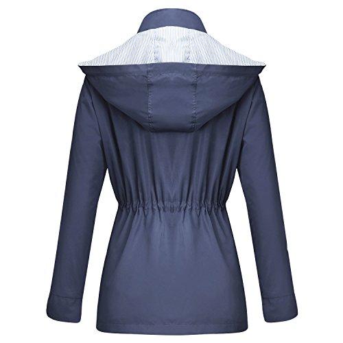 Cappuccio Con Antipioggia Unbrand Giacca Blu Impermeabili Da Outdoor Navy Donna Active Trench qxO01