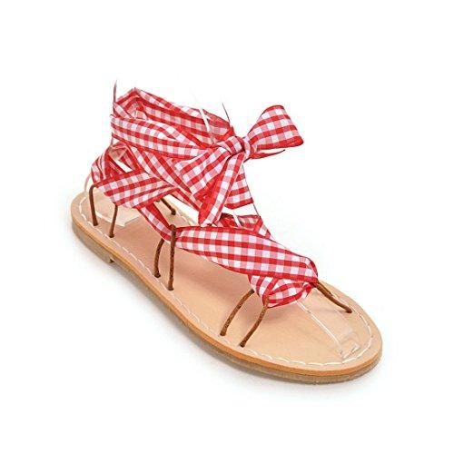 Chaussures Sandales Red Rome Bandages Femmes Taille Télévision Grande Cravate Bohemia l1FTKJc