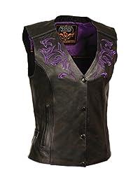 Milwaukee Women's Leather Vest (Black/Purple, Large)