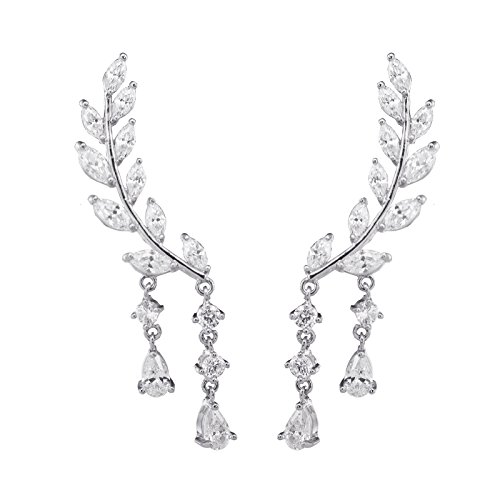 Chichinside CZ Crystal Leaves Ear Cuffs Climber Earrings Sweep up Ear Wrap Pins 1 Pair (silver-plated-base) -