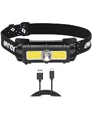 Koplamp XPG + COB + LED USB oplaadbaar, krachtig, super helder, hoofdlamp met 1000 lm, 7 modi, waterdicht en licht, voor vissen, kamperen, lezen en wandelen (USB-kabel inbegrepen)