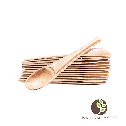 Naturally Chic Disposable Palm Leaf Appetizer And Tea Spoons - Compostable, Biodegradable Utensils for Desserts, Coffee, Soups ()