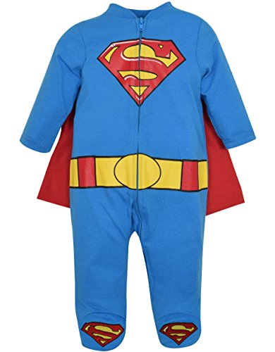 [Superman Footed Pajamas with Cape (3-6 Months)] (5 Guy Halloween Costumes)