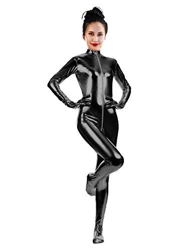 (Sheface Adults Metallic Shiny Front Zipper Zentai Unitard Bodysuit (X-Large, Black))