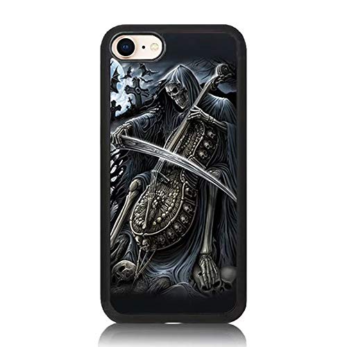 iPhone 8 Plus Case, Scary Halloween Guitar Skeleton Print Soft Silicone & Hard Back Cover, [Shock Absorbent] Case for iPhone 8 Plus]()