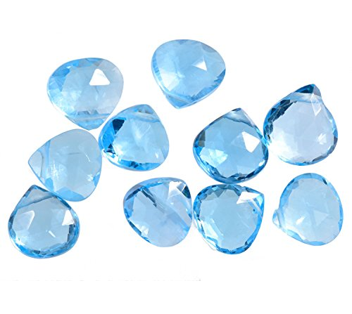 Swiss Blue Topaz Heart Faceted Briolette Beads 6mm-7.5mm (Qty=10) Heart Briolette Pendant