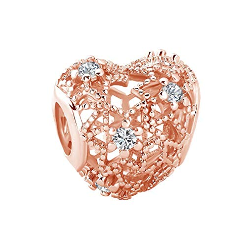 European Heart Bead With Pink Flower Apple Silver Alloy Beads Charms Fit Pandora Bracelets & Bangles Necklace W931