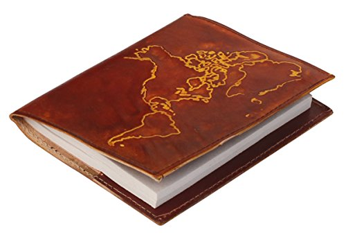 SouvNear Writing Journal - Premium Quality World Map Genuine Leather Journal / Personal Notebook in Brown – Embossed World Map