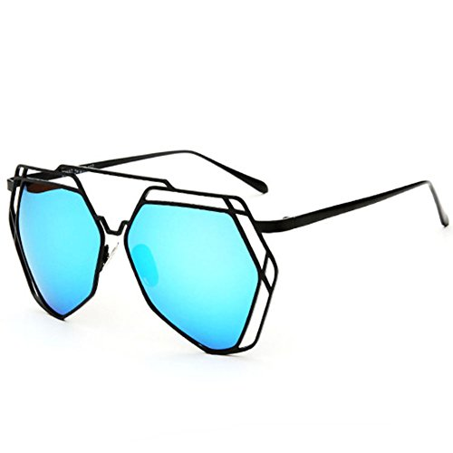 SG80014 Gift Sunglasses for Women,Fashion Oval Polarizer - UV400/Black Frames/Aqua - Frames Online Vogue