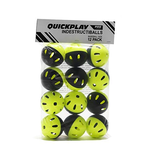 QuickPlay Baseball Indestructiballs (Pack of 12) Heavy-Duty Baseball Training Balls | Long Lasting Limited Flight High Impact Balls | Ultra-Durable Wiffle-Style Training Balls – New for 2018