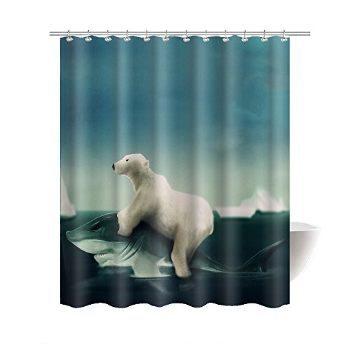 (Gwein Funny Polar Bear Riding Shark Bath Home Decor Shower Curtain Polyester Fabric Bathroom Waterproof Cloth Shower Room Decoration Shower Curtains 60x72 Inches)