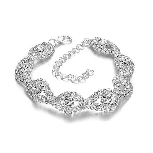 Sparkling Rhinestone Link Bracelet for Wedding,Prom,Bridal,Costume,Figure Competition,Beauty -