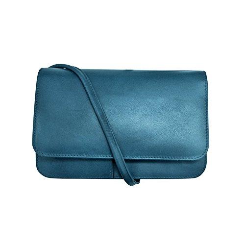 BODY WITH Jeans CROSS BAG SHOULDER LEATHER Blue ORGANIZER MINI ILI EYaOwqO