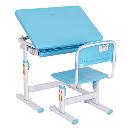 Costway Sturdy and Durable Adjustable Desk & Chair Height Student Study Kids Activity Table and Stool Work Station Set in Blue with Sliding Drawer by COSTWAY