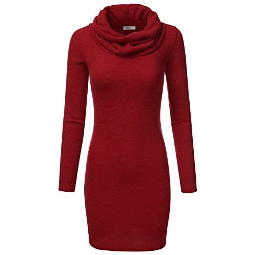 Cheap Doublju Thin Cowl Neck Tunic Bodycon Dress For Women With Plus Size (Made in USA) supplier