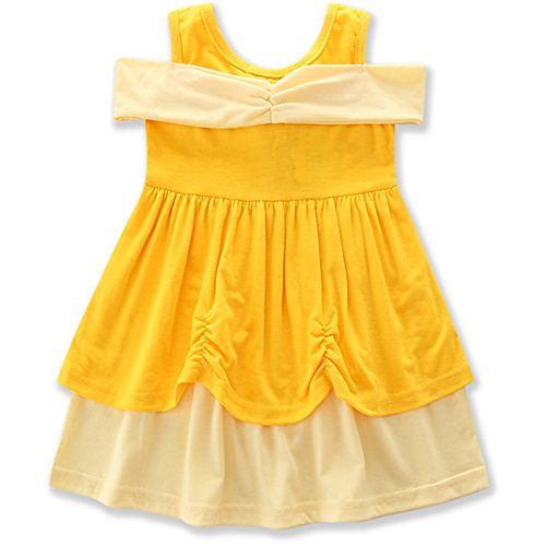 AmzBarley Girls' Belle Costume Party Dress up Clothes Flower Princess Dresses Yellow Size 6 by AmzBarley (Image #2)