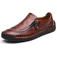 gracosy Slip-On Shoes, Men's Leather Hand Stitching Zipper Non-Slip Oxford Casual Leather Loafers Driving Walking Shoes