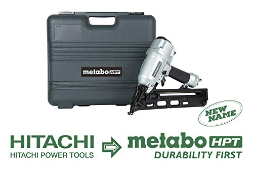 Metabo HPT NT65MA4 Pneumatic Angled Finish Nailer, 15 Gauge, 1-1 4-Inch up to 2-1 2-Inch Finish Nails, Integrated Air Duster, Selective Actuation Switch, 360-Degree Exhaust Portal, 5-Year Warranty