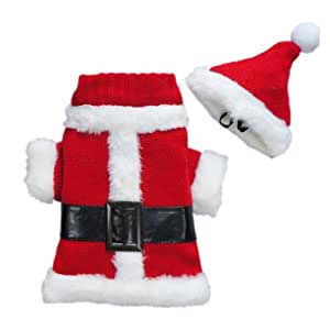 Classic Christmas Santa Dog Costumes Xmas Dog Clothes Dog Suit Cozy Dog Sweater Pet Clothes + Hat Free Shipping, XS