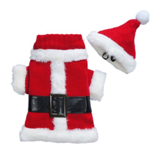 Classic Christmas Santa Dog Costumes Xmas Dog Clothes Dog Suit Cozy Dog Sweater Pet Clothes + Hat Free Shipping,XS, My Pet Supplies