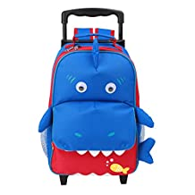 Yodo Convertible Playful 3-Way Little Kids Rolling Luggage or Toddler Backpack with Wheels, Large Front Quick Access Pouch for Snacks or Knickknacks, for Boys and Girls Age 3+, Shark