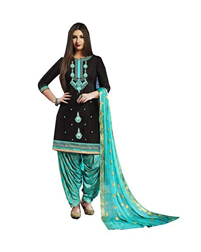 Queen Fashion New Indian/Pakistan Wear Patiala Salwar Embroidered Cotton Salwar Kameez Suit for Woman (Blue, L-42) ()