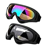 icoXXch 2PCS Snowboard Ski Goggles, Skiing Sport Adult Motorcycle Dustproof Sunglasses, Anti-Fog UV Dual Lens Frame Eye Glasses with Adjustable Headband, Helmet Compatible for Men, Women & Youth