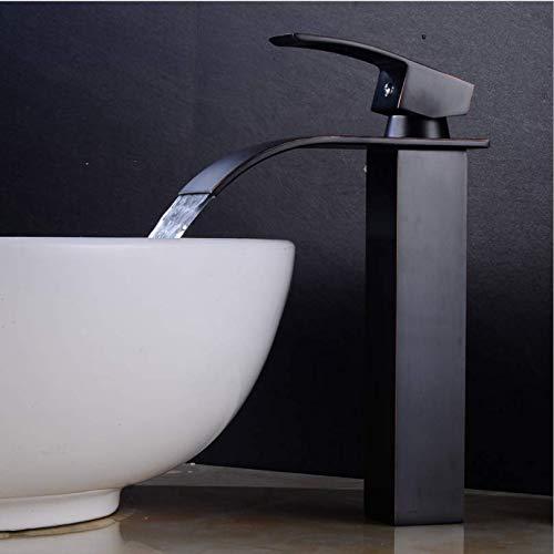 Jukunlun Basin Faucet Black Oil Brushed Brass Bathroom Faucet Single Handle Luxury Waterfall Faucet