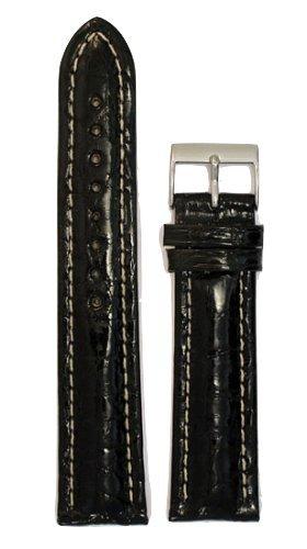 Men's Genuine Crocodile Watchband Black 18mm Watch Band - by JP Leatherworks