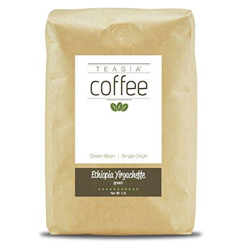Yirgacheffe Green Coffee - Teasia Coffee, Ethiopia Yirgacheffe, Single Origin, Green Unroasted Whole Coffee Beans, 5-Pound Bag