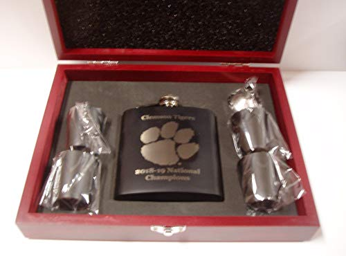 Clemson Tigers 2018-2019 NCAA National Football Champions black 6 oz stainless steel flask with 4 black stainless steel shot glasses and a funnel in a rosewood presentation -