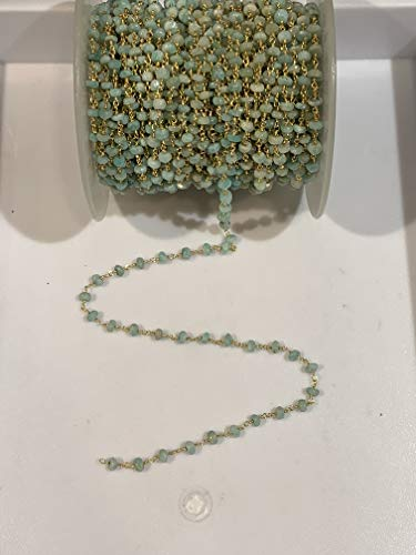 - 6 feet Natural Amazonite Beads 4-5mm 24k Gold Plated Rosary Style Chain by bestinbeads, semi Precious Gemstone Beads, Faceted Gemstone Beaded Chain by The Foot, Jewelry Chain, Necklace Chain