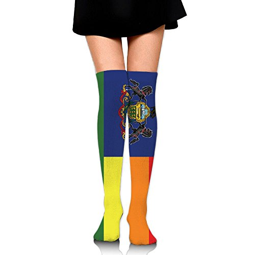 HTSS Women's Tube Stockings Rainbow Flag Pennsylvania Funny Over The Knee Unisex Knee High Long Socks