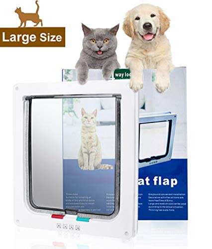 SUCCESS Pet Door for Windows and Sliding Grass Door, Magnetic and Automatic 4-Way Locking Pet Door, Large Cat Flap for Large Cats and Dogs,9.84