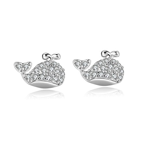 18g 316l Surgical Steel Cute Dolphin Stud Cartilage Earrings helix piercing jewelry 2 Pieces(White)