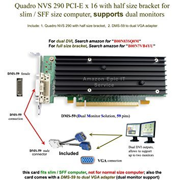 (Epic IT Service - Quadro NVS 290 low profile card (half size bracket, DMS-59 to dual VGA adapter))