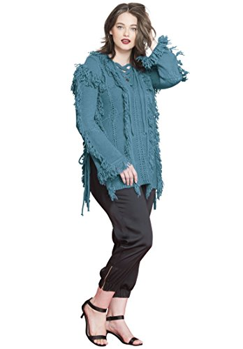 Womens-Plus-Size-Lace-Up-Fringe-Sweater