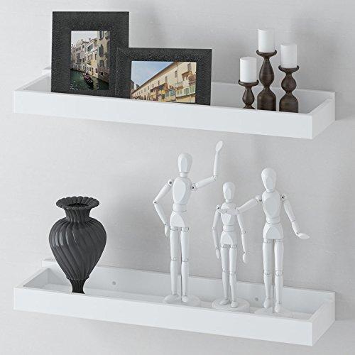 Modern Home White Floating Tray Wall Wedge Shelf 24 X 6 Inch Set of (2)