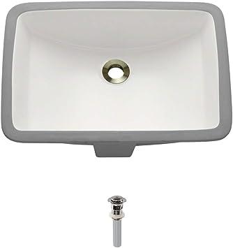 Chrome Pop-Up Drain UPM-Bisque Undermount Porcelain Bathroom Sink Ensemble