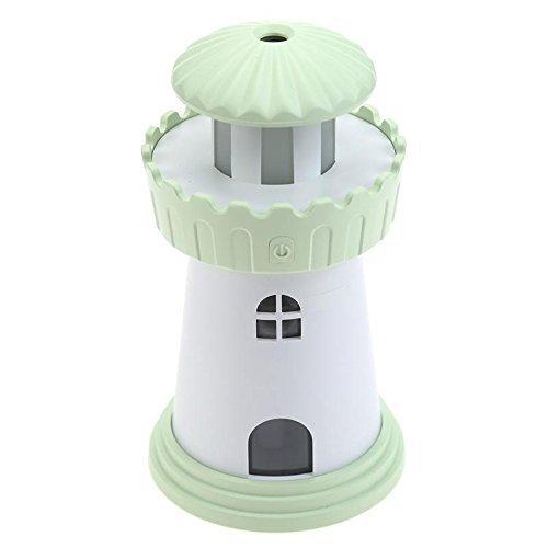 TechCode Car Diffuser, Creative mini Lighthouse USB Ultrasonic Air Purifier Fogger Office Car USB Air Purifier Mini Portable Aroma Diffuser with LED Lights Air Humidifier (Green)