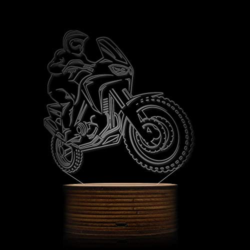 Novelty Lamp, 3D LED Lamp Optical Illusion Motorcyclist Night Light, USB Powered Remote Control Changes The Color of The Light Birthday Gift Decoration Baby Boy Girl Child,Ambient Light by LIX-XYD (Image #2)