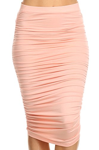 MeshMe Womens Diana - Blush Rose Pink Bodycon High Waist Knee Length Ruched Accent Wedding Formal Bridesmaid Ensemble Spring Summer Dressy Lightweight Hi Waisted Midi Pencil Skirt Plus Size X-Large by MeshMe