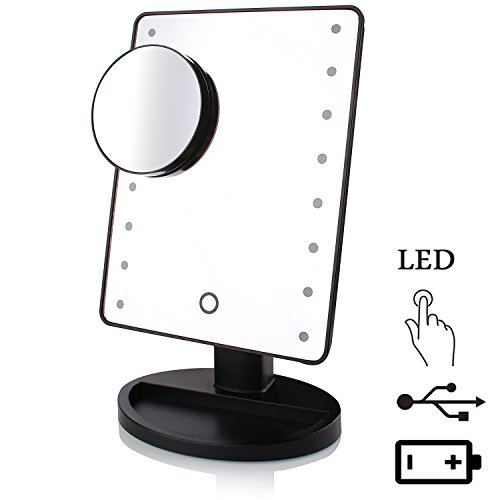 [2nd version] Lmeison 16 LED Lighted Premium Mirror with Light, Smart Touch Screen Vanity Makeup Mirror Adjustable Brightness, Battery/ USB Power Supply Mode, Free Gift 10x Magnification Mirror