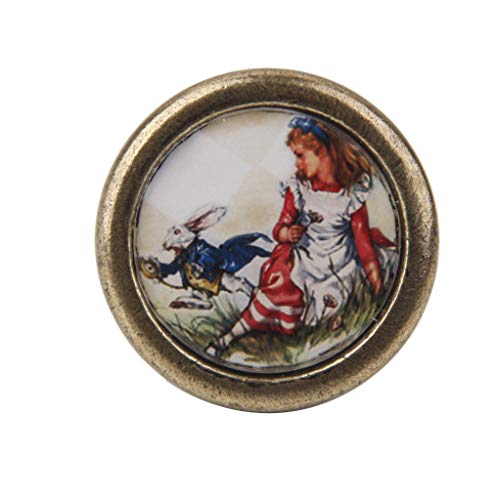 Vintage Round Door Knob Drawer Dresser Cabinet Pull Handle Girl and Rabbit