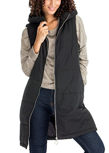 Long Zip Up Side Pocket Quilted Lightweight Thin Padding Hoodie Outerwear Vest Jackets