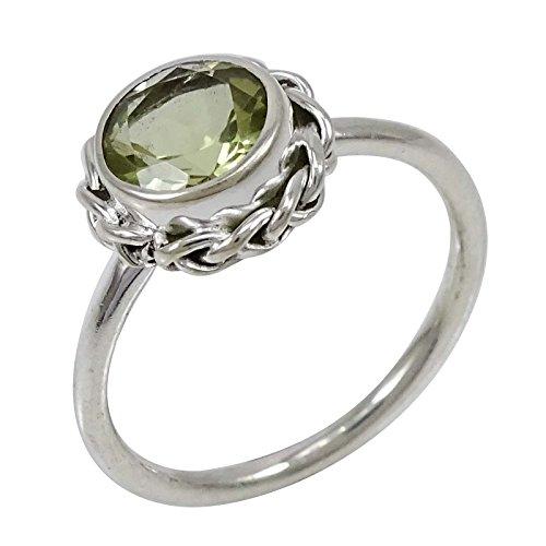 Banithani 925 argent pur bande péridot pierre femmes anneau bijoux faits à la main